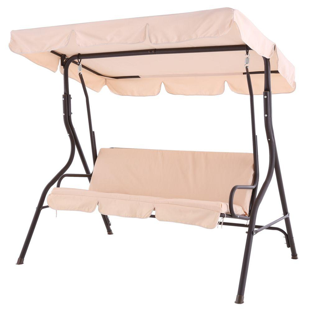 Sunjoy 2 Person Duet Steel Polyester Patio Swing L DNC373PST C   The Home  Depot