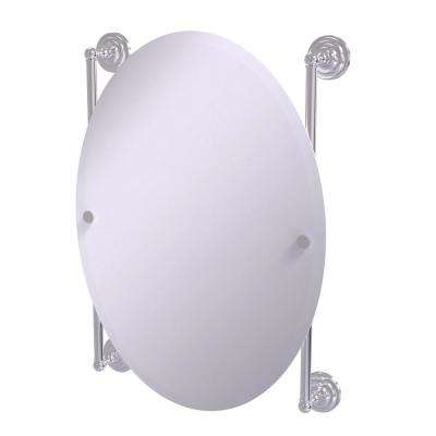 Que New Collection Oval Frameless Rail Mounted Mirror in Satin Chrome
