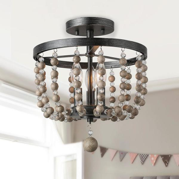 LNC Flush Mount Lighting 3-Light 12 in. Graphite Modern Semi Flush Mount with Rustic Farmhouse Crystal & Wood Beads