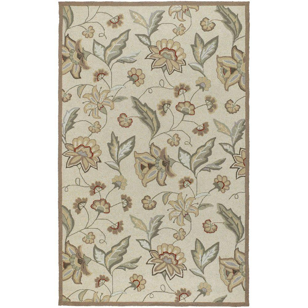 Lilium Beige 4 ft. x 6 ft. All-Weather Patio Area Rug