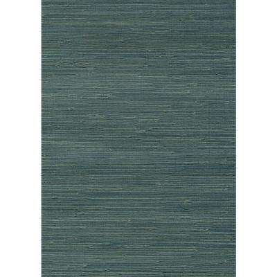 8 in. x 10 in. Jurou Blue Grasscloth Wallpaper Sample