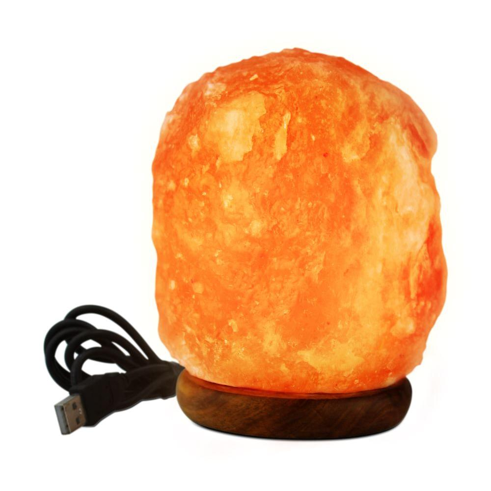 WBM Himalayan 3 in. LED USB Himalayan Ionic Crystal Salt Mini Lamp