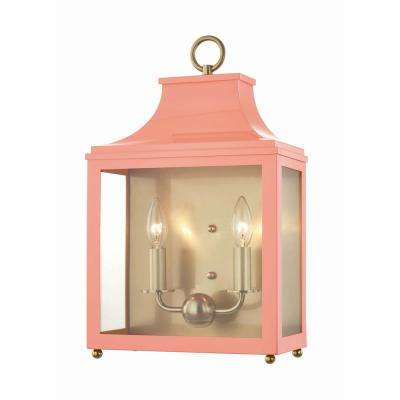Leigh 2-Light Aged Brass/Pink Wall Sconce