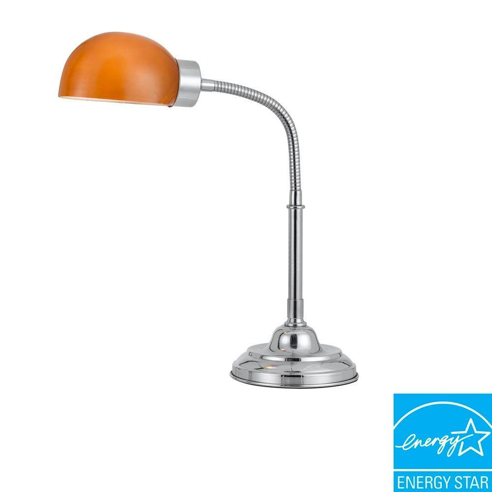 CAL Lighting 19 in. Cartagena Metal Desk Lamp with Amber Shade