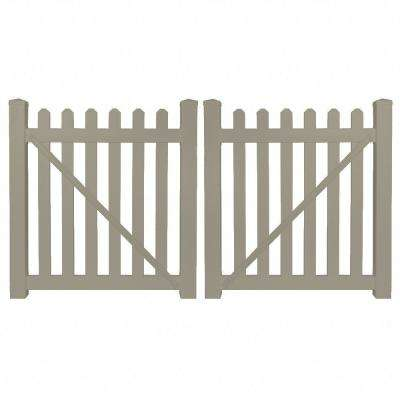 Chelsea 8 ft. W x 5 ft. H Khaki Vinyl Picket Fence Gate