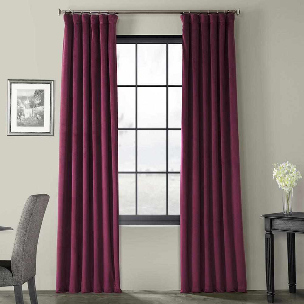 Exclusive Fabrics & Furnishings Signature Cabernet Violet Blackout Velvet Curtain - 50 in. W x 120 in. L