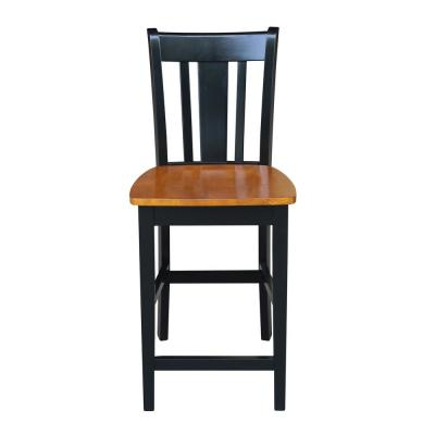 San Remo 24 in. Black and Cherry Bar Stool