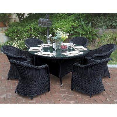 Neirone 7-Piece All-Weather Wicker Circular Outdoor Dining Set with Dark Brown Cushion