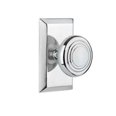 Studio Plate 2-3/4 in. Backset Bright Chrome Privacy Deco Door Knob