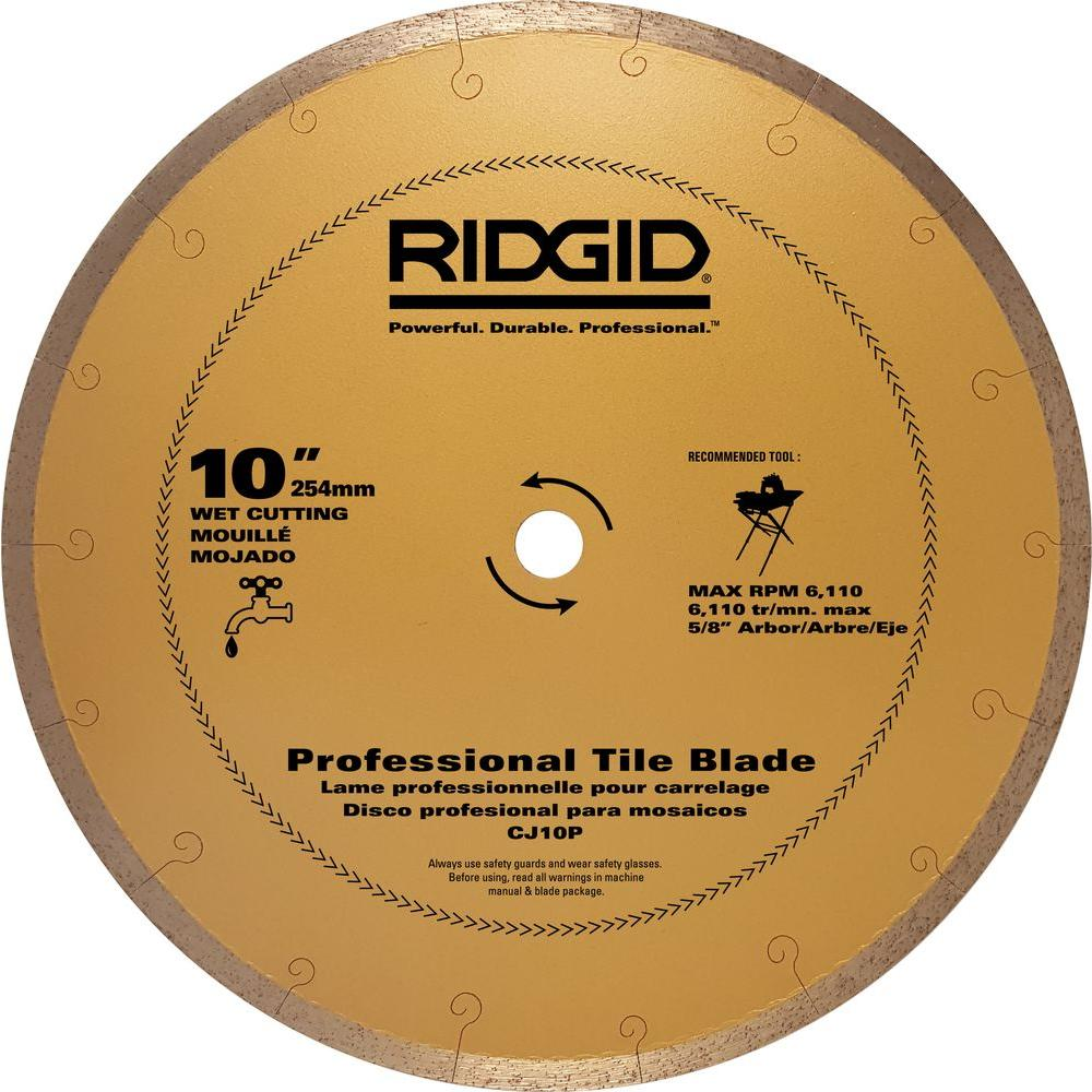 Ridgid 10 In Premium Tile Diamond Blade Hd Cj10p The
