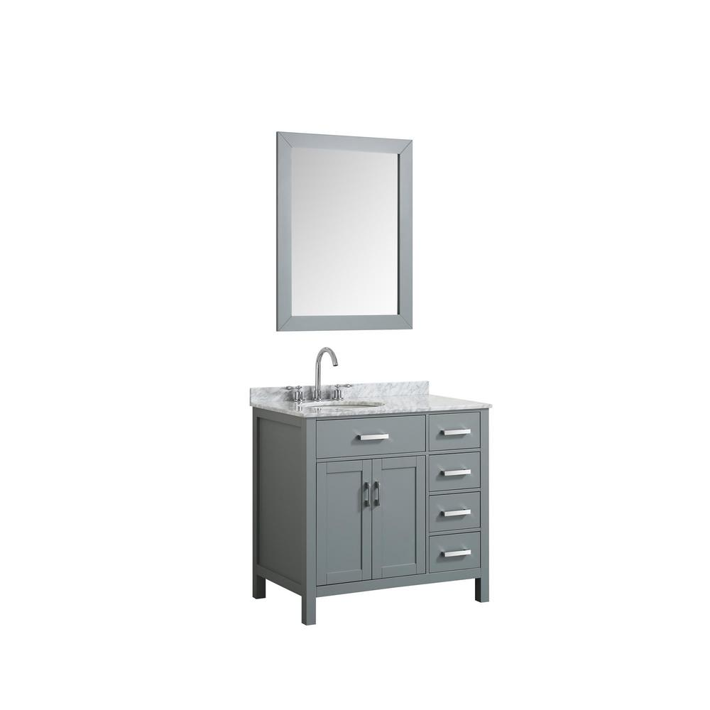 Hampton 37 in. Bath Vanity in Gray with Marble Vanity Top