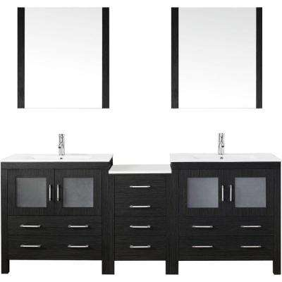 Dior 82 in. W x 18.3 in. D Vanity in Zebra Grey with Ceramic Vanity Top in White with White Basin and Mirror