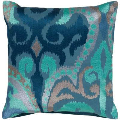 Krasavino Blue Graphic Polyester 18 in. x 18 in. Throw Pillow