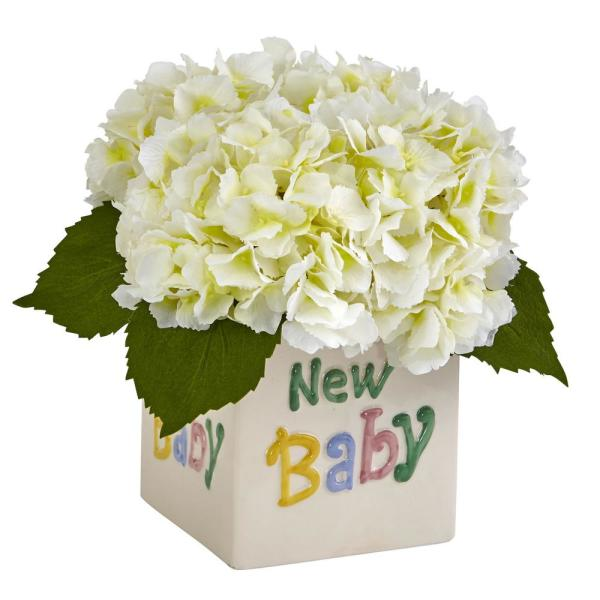 Nearly Natural 9.5 in. Hydrangea in New Baby Ceramic in Cream
