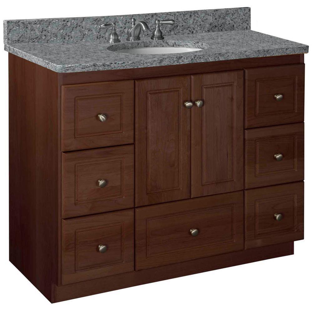 Ultraline 42 in. W x 21 in. D x 34.5 in. H Vanity Cabinet Only in Dark Alder
