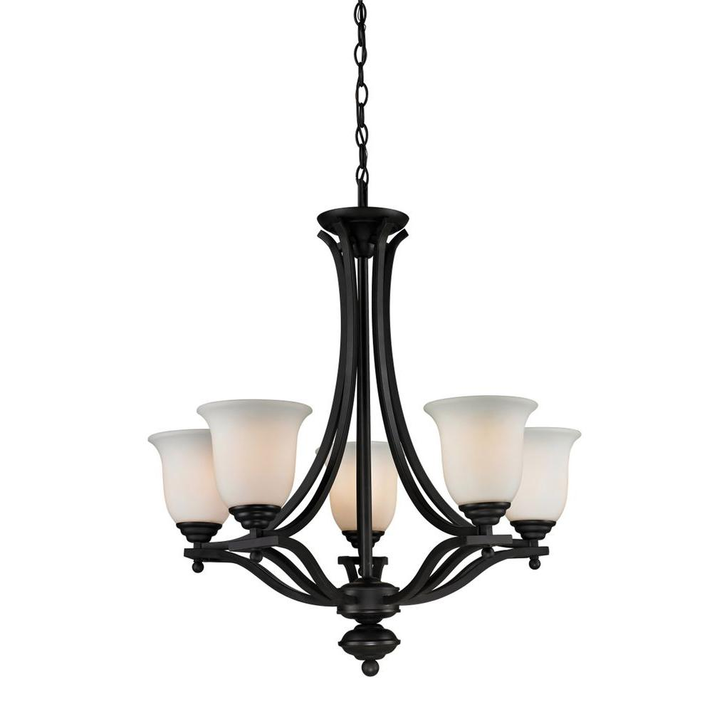 Lawrence 5 Light Matte Black Incandescent Ceiling Chandelier