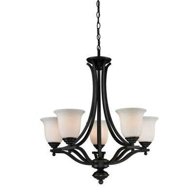 Lawrence 5-Light Matte Black Incandescent Ceiling Chandelier