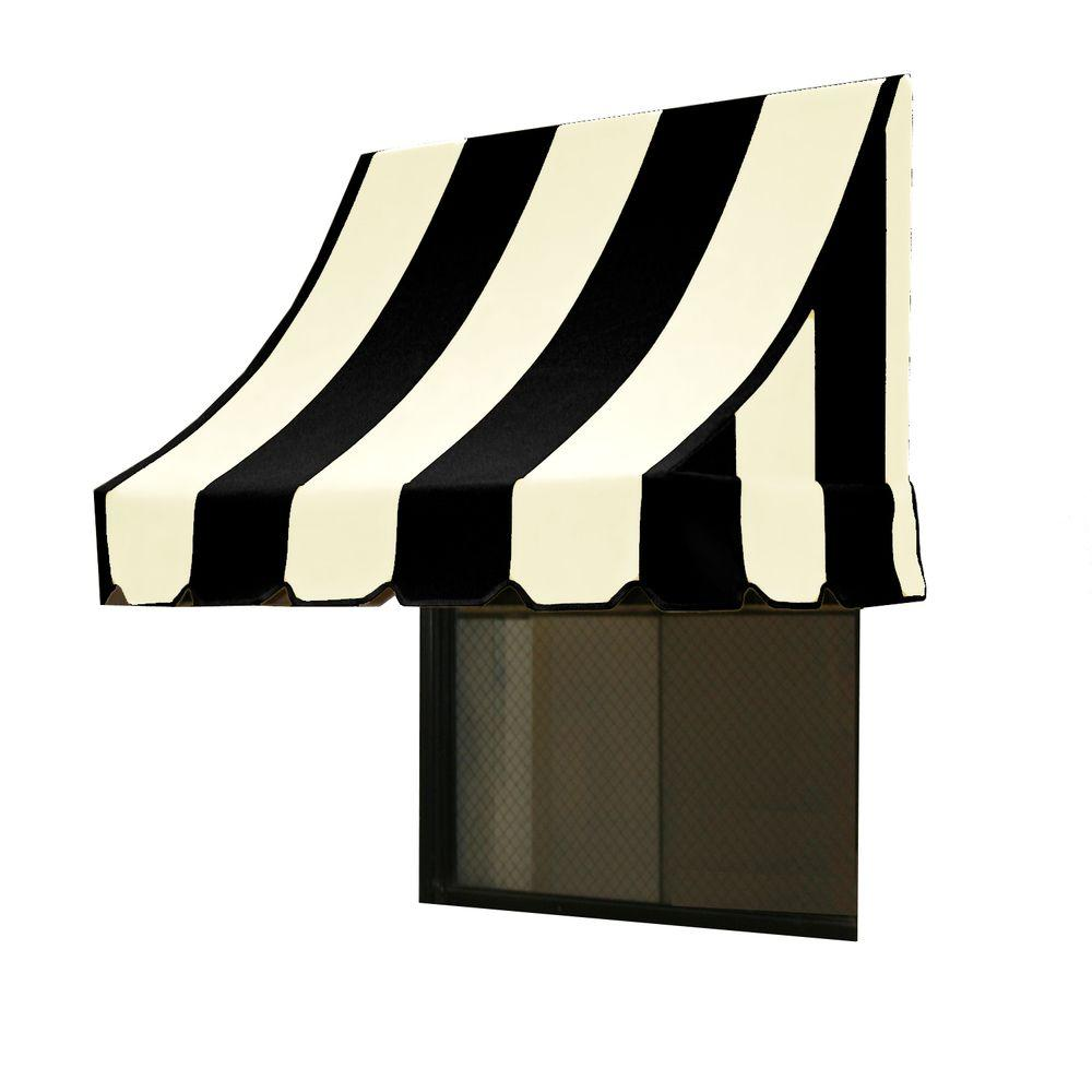 AWNTECH 14 ft. Nantucket Window/Entry Awning (56 in. H x 48 in. D) in Black/White Stripe