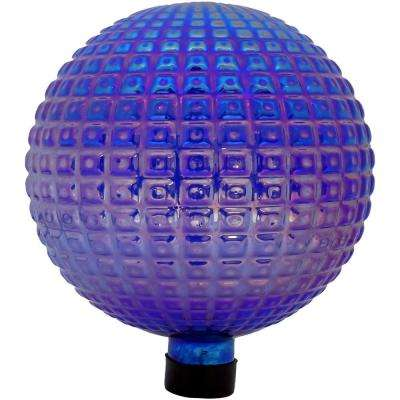 10 in. Purple Textured Squares Outdoor Garden Gazing Globe Ball