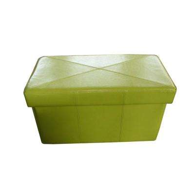 Nottingham Green Bonded Leather Foldable Storage Ottoman
