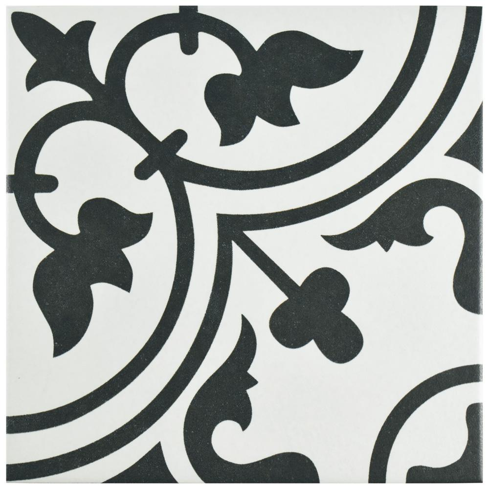 Merola Tile Arte White Encaustic 9-3/4 in. x 9-3/4 in. Porcelain Floor and Wall Tile (10.76 sq. ft. / case)