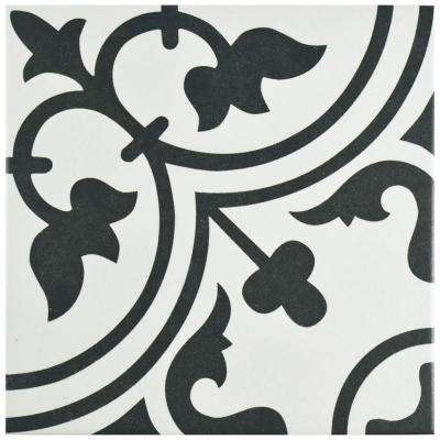 Arte White Encaustic 9-3/4 in. x 9-3/4 in. Porcelain Floor and Wall Tile (10.76 sq. ft. / case)