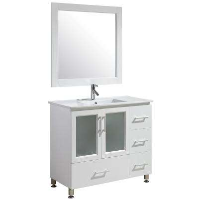 Stanton 40 in. W x 18 in. D x 35 in. H Vanity in White with Porcelain Vanity Top in White with White Basin and Mirror