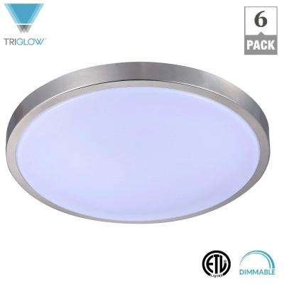 75-Watt Equivalent Brushed Nickel Soft White Dimmable 12 in. Round Integrated LED Flush Mount Fixture (6-Pack)