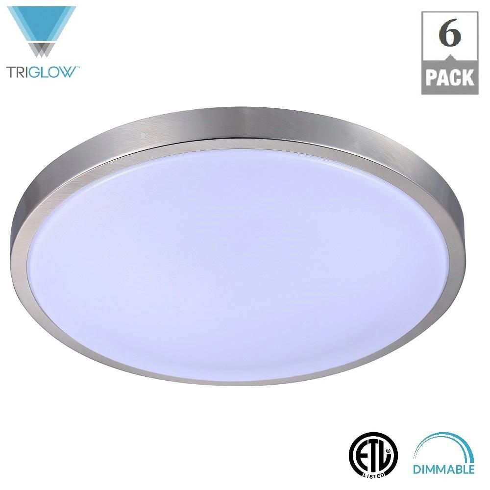 TriGlow 12 in. 15-Watt Brushed Nickel Cool White Dimmable...