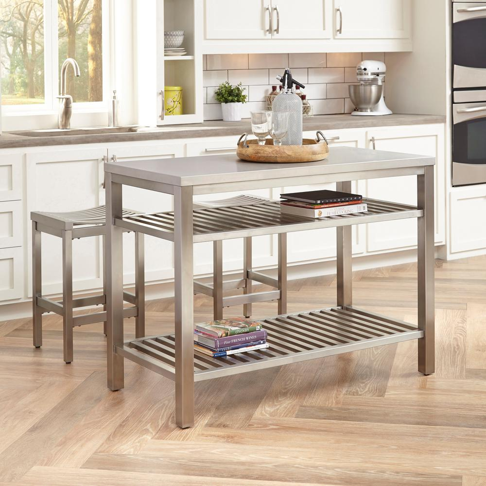 Home Styles Brushed Satin Stainless Steel Kitchen Island With Bar Stools 5617 948 The Home Depot