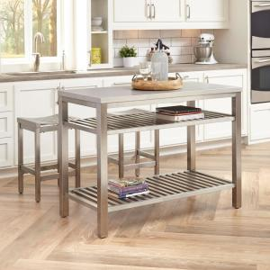 Cool Homestyles Brushed Satin Stainless Steel Kitchen Island With Machost Co Dining Chair Design Ideas Machostcouk