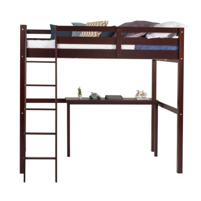 Concord Cappuccino Full Size High Loft Bed with Desk