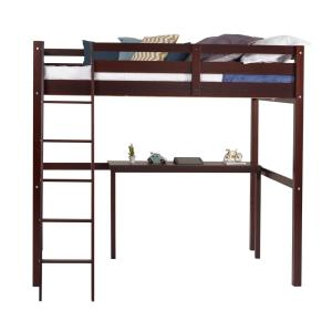 Concord Cappuccino Twin Size High Loft Bed with Desk