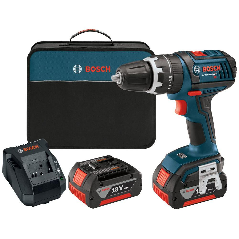 Bosch 18-Volt Lithium-Ion Cordless Compact Tough 1/2 in. Hammer Drill Driver with 2 HC 3.0Ah Battery and Charger