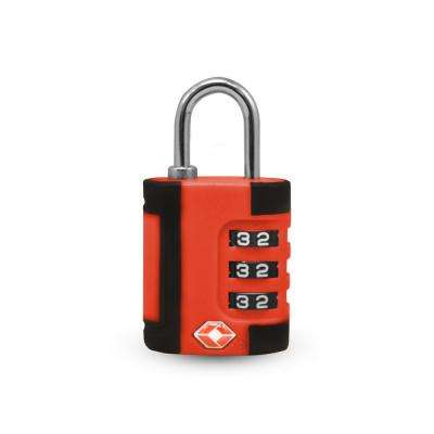 3 Digit Combination Padlock 2 Tone in Red/Black - TSA Approved