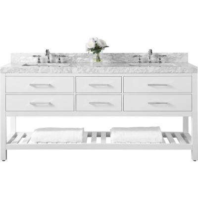Elizabeth 72 in. W x 22 in. D Vanity in White with Marble Vanity Top in Carrera White with White Basins