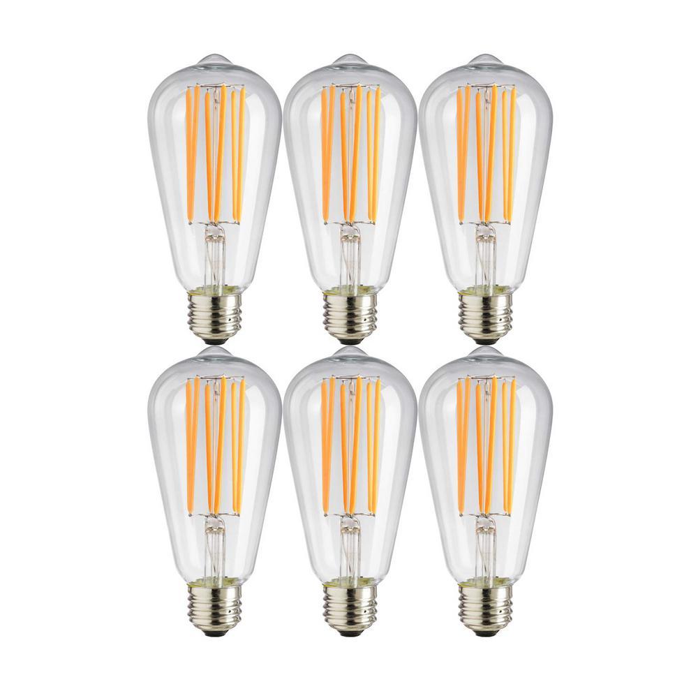 40-Watt Equivalent ST19 Dimmable Vintage Edison LED Light Bulb, Amber 2200K (6-Pack)
