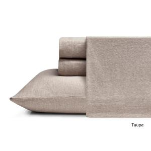 Heather Jersey 4-Piece Taupe Solid King Sheet Set