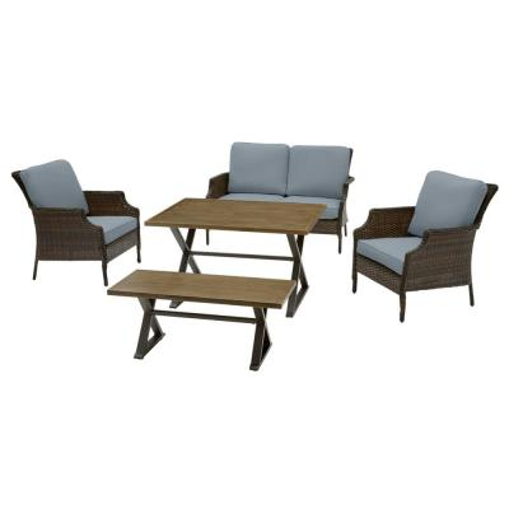 Grayson 5-Piece Brown Wicker Outdoor Patio Dining Set with Sunbrella Denim Blue Cushions
