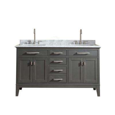 Danny 60 in. W x 22 in. D x 34.5 in H Bath Vanity in Maple Gray with Marble Vanity Top in Carrara White with White Basin