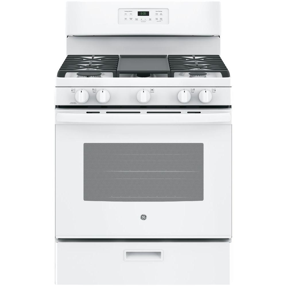Ge 30 In 5 0 Cu Ft Gas Range White