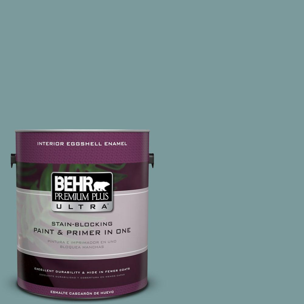 1 gal. #PMD-35 Blue Agave Eggshell Enamel Interior Paint and Primer