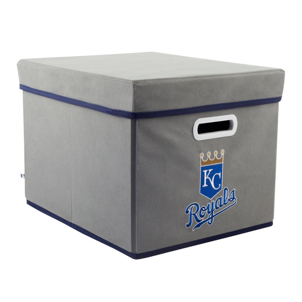 MyOwnersBox MLB STACKITS Kansas City Royals 12 in. x 10 in. x 15 in. Stackable Grey Fabric Storage Cube