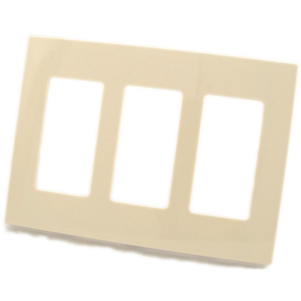 3-Gang Decora Screwless Wall Plate, Light Almond
