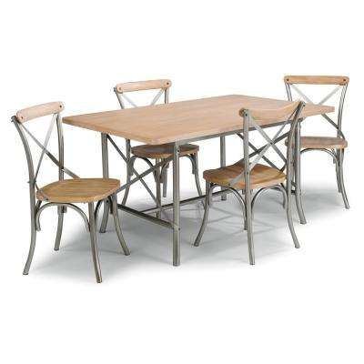 French quarter 5-Piece Aged White Wash Natural Dining Set