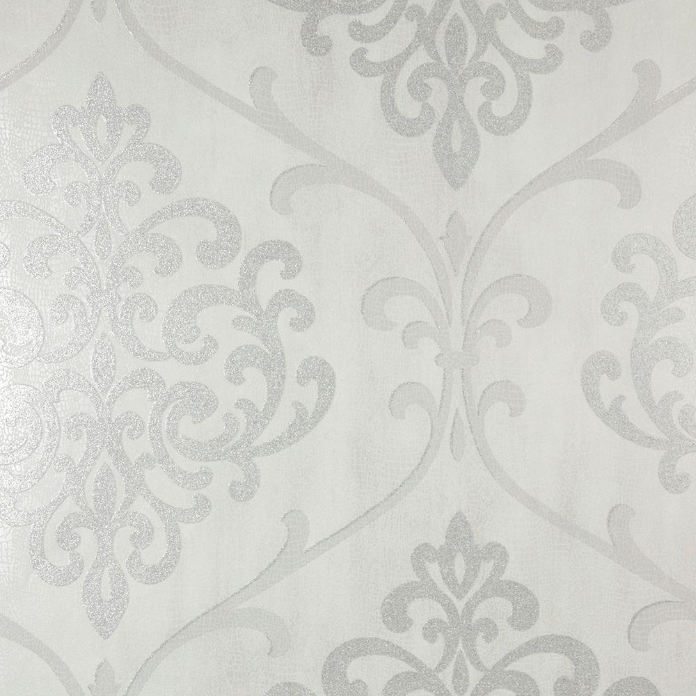 Kenneth James Ambrosia Silver Glitter Damask Wallpaper
