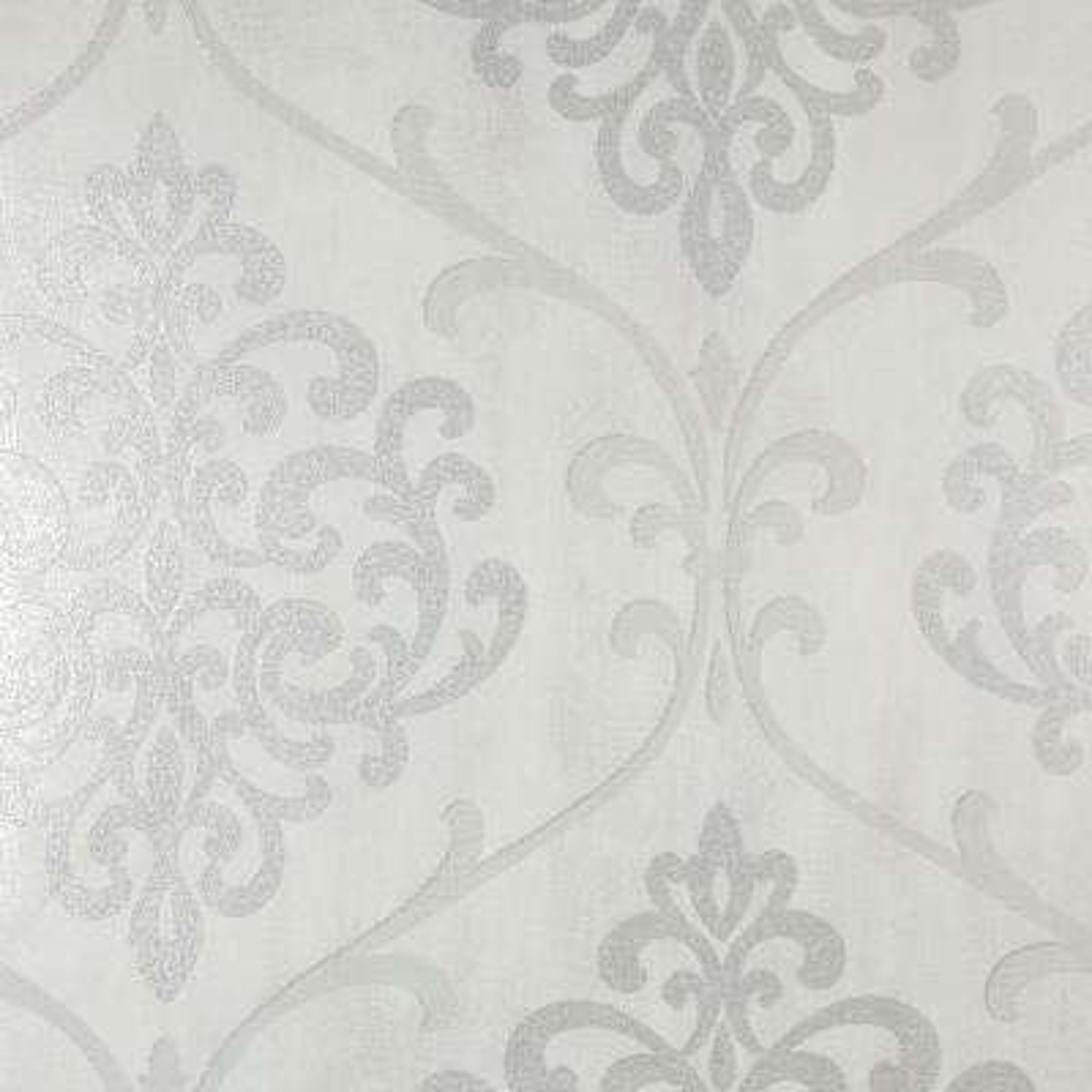 Ambrosia Silver Glitter Damask Wallpaper