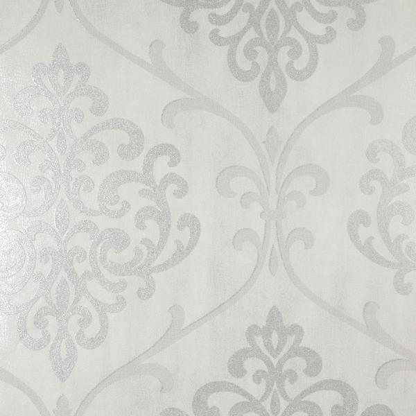 Kenneth James Ambrosia Silver Glitter Damask Wallpaper 2542-20717
