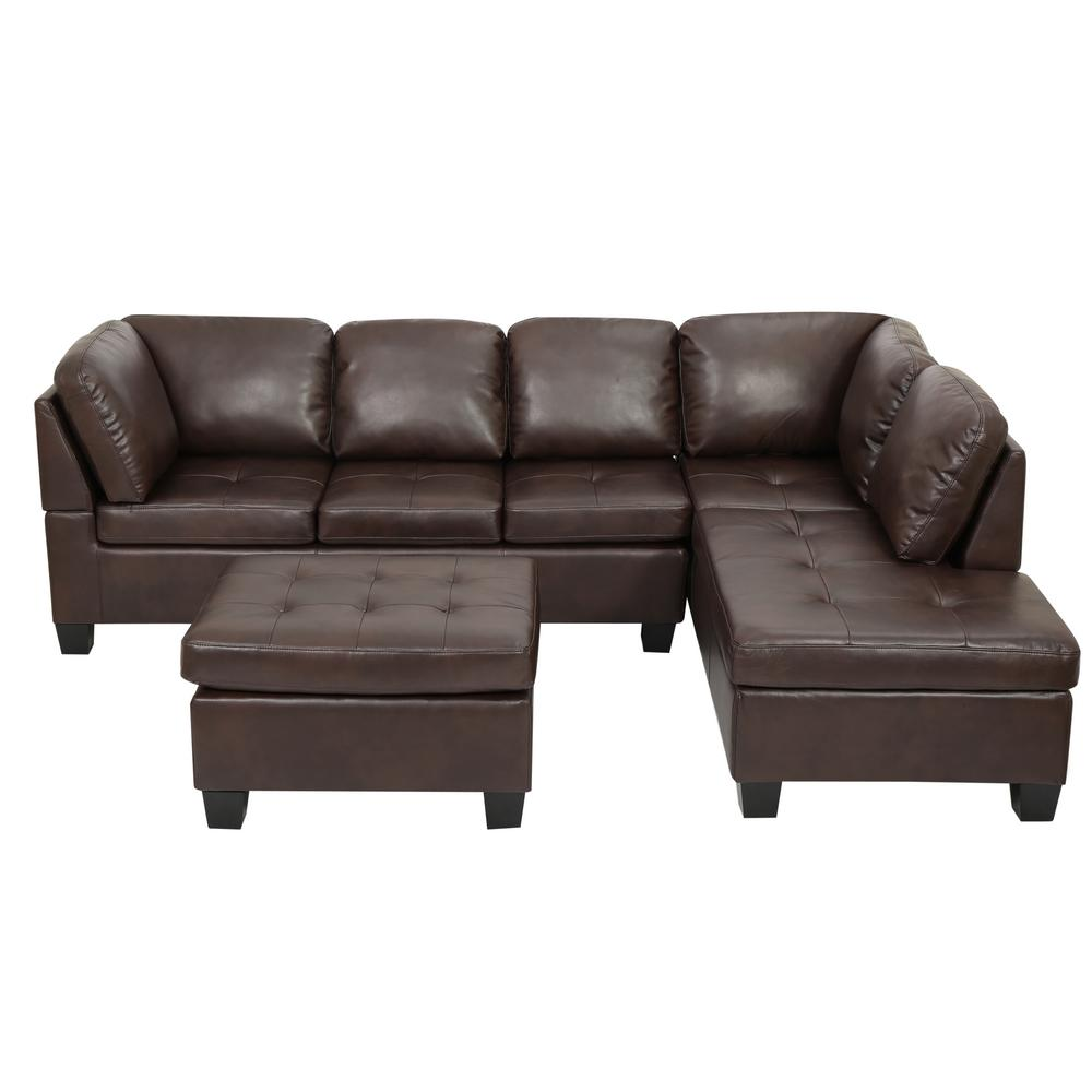 Noble House 3 Piece Brown Tufted Seat Pu Leather Sectional And