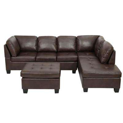 3-Piece Brown Tufted Seat PU Leather Sectional and Ottoman Set